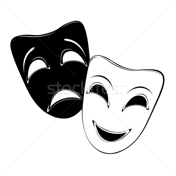 Stockfoto: Maskers · masker · witte · gelukkig · teken
