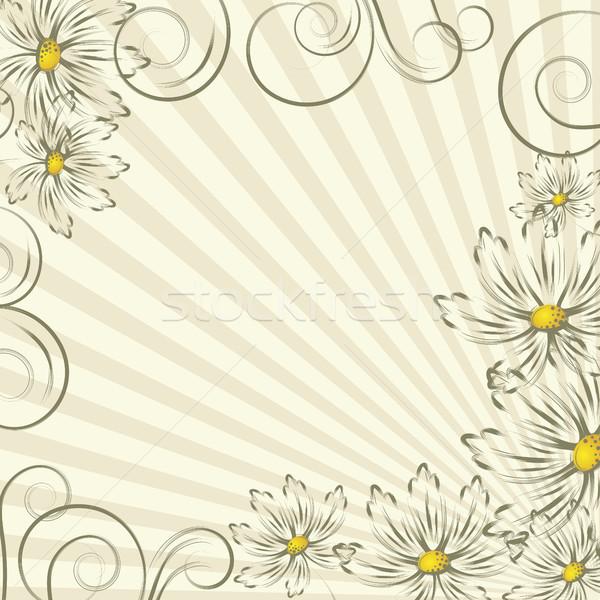 Flores linhas abstrato ouro projeto Foto stock © ElenaShow