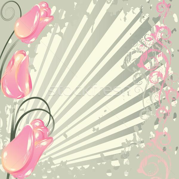 Flores grunge abstrato rosa tulipas Foto stock © ElenaShow