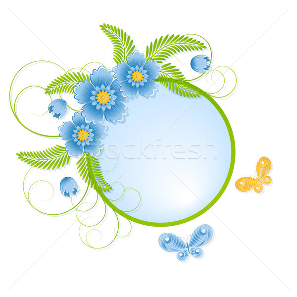 Printemps bleu fleurs papillons nature design Photo stock © ElenaShow