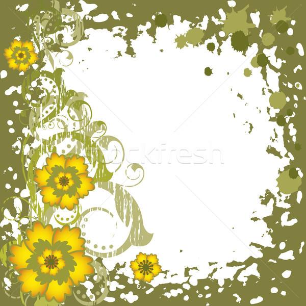 Fiori gialli grunge abstract verde fiore design Foto d'archivio © ElenaShow