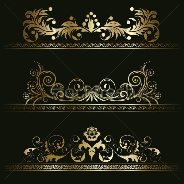 Set retro fotogrammi oro nero floreale Foto d'archivio © ElenaShow