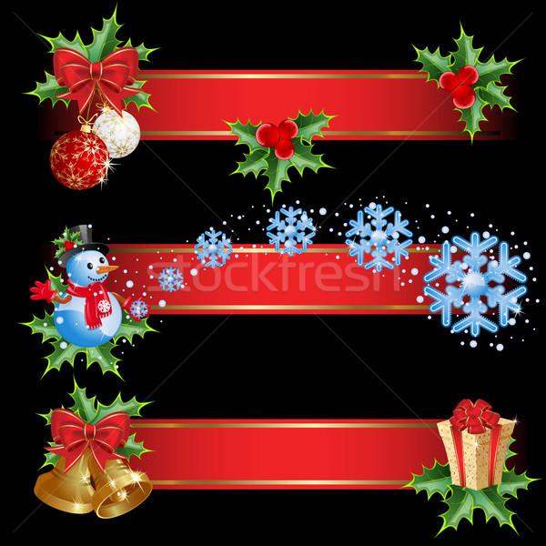 Noel afişler ayarlamak arka plan sanat Stok fotoğraf © ElenaShow