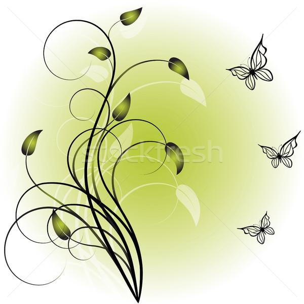 Yeşil şıklık bitki kelebekler bahar kelebek Stok fotoğraf © ElenaShow