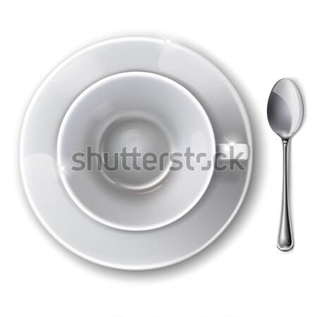Top view on empty white cup with saucer and  spoon on a white background. Mesh. Isolated.  This file Stock photo © ElenaShow