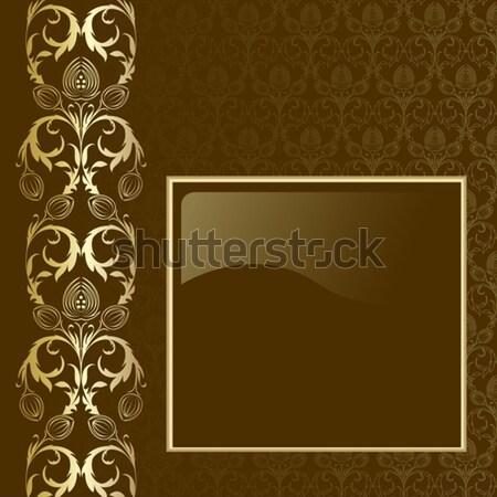 Kahverengi altın çiçekler yaprakları çerçeve doku Stok fotoğraf © ElenaShow