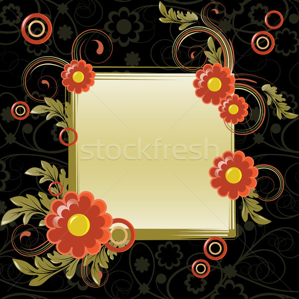 Cadre résumé fleurs rouges laisse design feuille Photo stock © ElenaShow