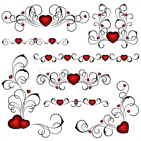 Cuore set floreale pattern computer amore Foto d'archivio © ElenaShow