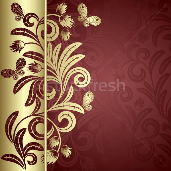 Oro impianto eleganza foglie farfalle rosso Foto d'archivio © ElenaShow