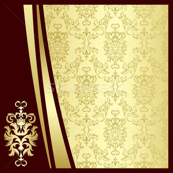 Ouro flores silhueta folhas abstrato folha Foto stock © ElenaShow