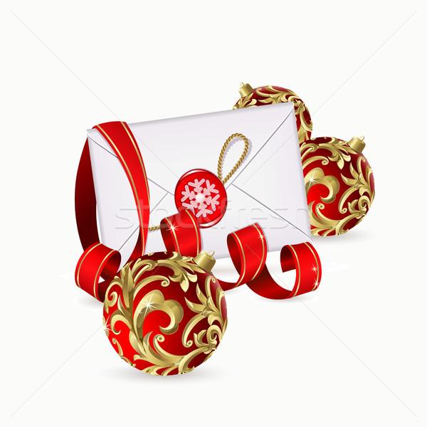 Noel kırmızı şerit zarf dizayn Stok fotoğraf © ElenaShow