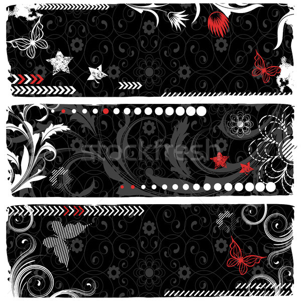Bannières trois modernes bannière fleur Photo stock © ElenaShow