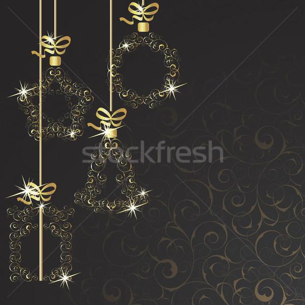 Arka plan Noel süslemeleri siyah dizayn çerçeve Stok fotoğraf © ElenaShow