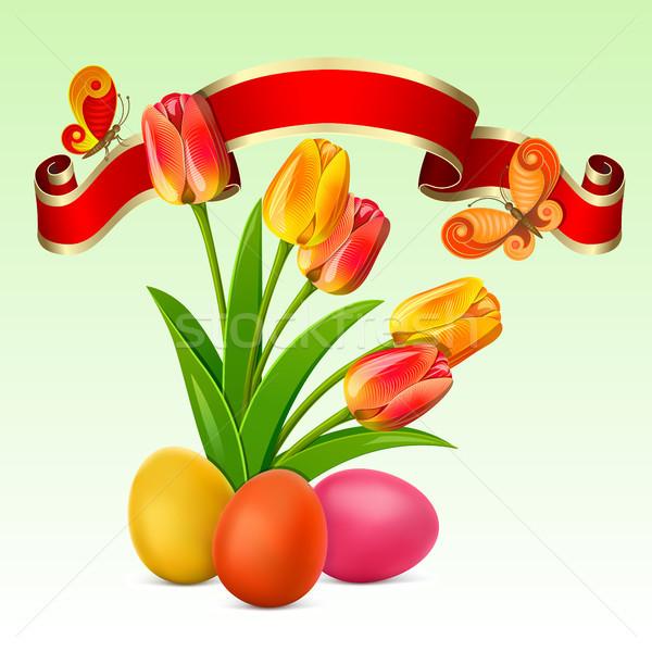 Пасху фон яйцо красный лента тюльпаны Сток-фото © ElenaShow