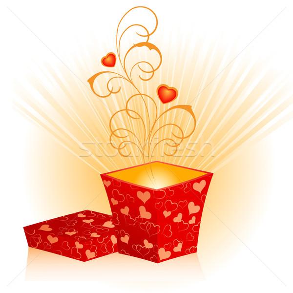 Scatola regalo open rosso cuori amore Foto d'archivio © ElenaShow