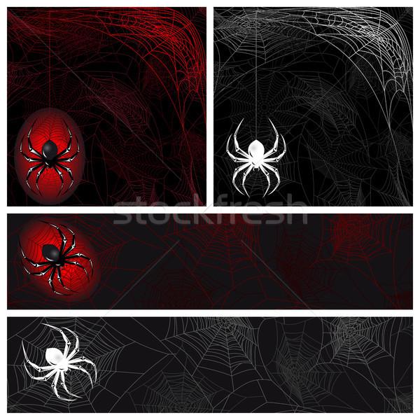 Web automne araignées noir silhouette Photo stock © ElenaShow