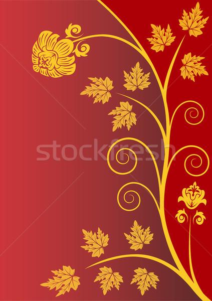 Rouge image or fleur résumé feuille Photo stock © ElenaShow