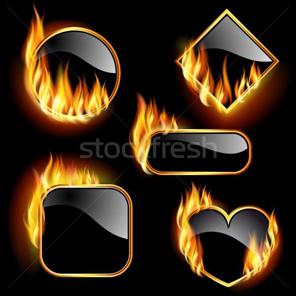 Set fotogrammi fiamme diverso forme nero Foto d'archivio © ElenaShow