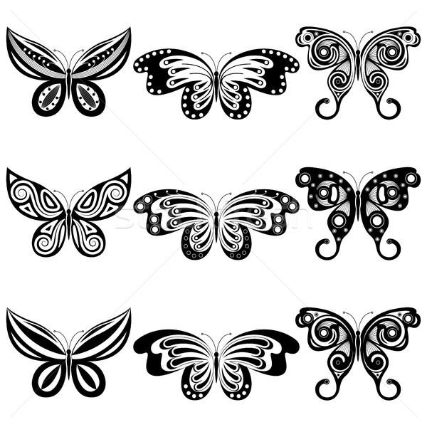 Conjunto borboletas nove diferente borboleta abstrato Foto stock © ElenaShow