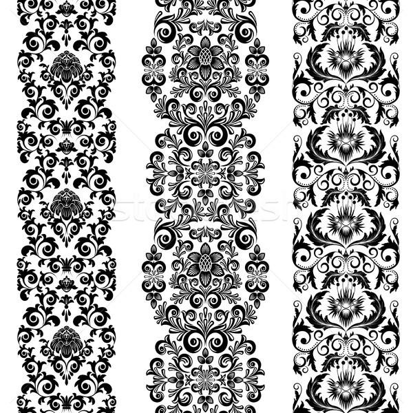 Ayarlamak üç siyah beyaz doğa çerçeve Stok fotoğraf © ElenaShow