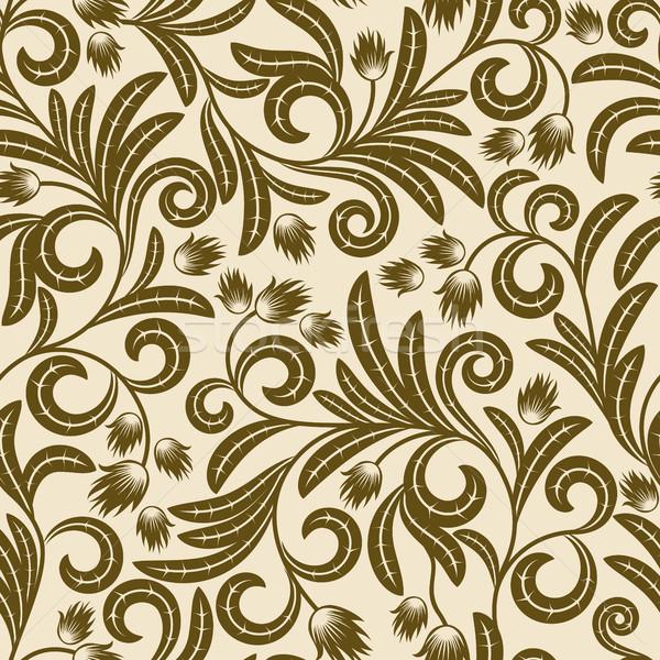 Brun fleurs résumé feuille wallpaper Photo stock © ElenaShow