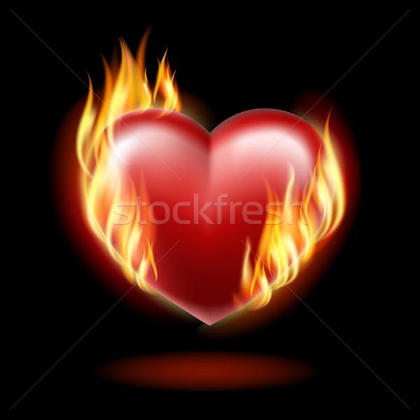 Coeur feu noir eps10 lumière Photo stock © ElenaShow