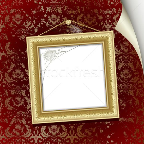 çerçeve altın duvar kırmızı duvar kağıdı dizayn Stok fotoğraf © ElenaShow