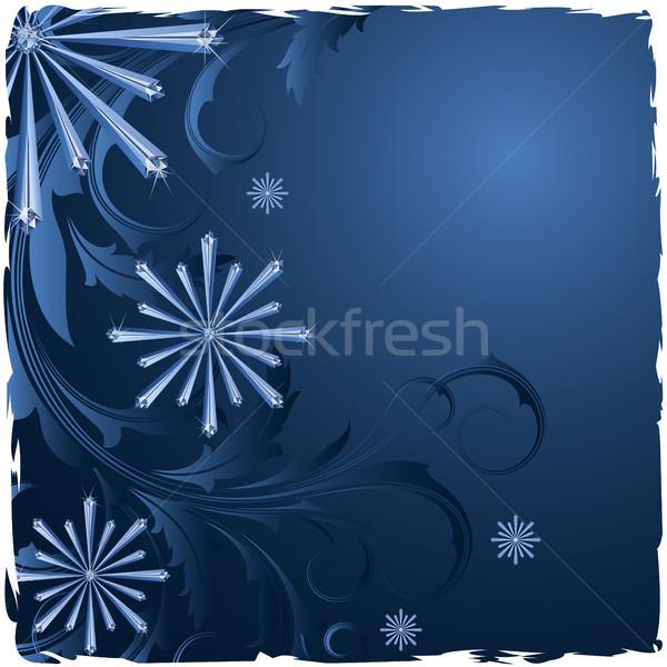 Noel kar taneleri soyut çerçeve kutlama gümüş Stok fotoğraf © ElenaShow