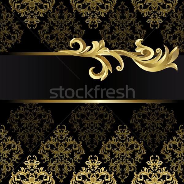 Stok fotoğraf: Siyah · altın · çerçeve · soyut · bitki · doku