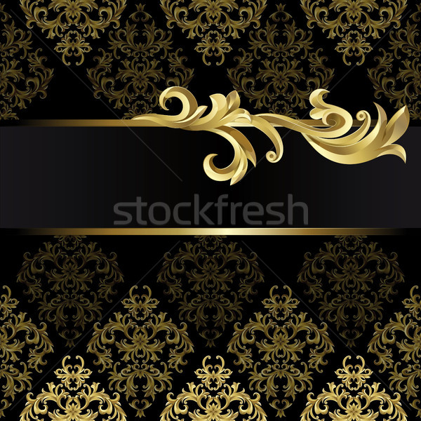Nero oro frame abstract impianto texture Foto d'archivio © ElenaShow