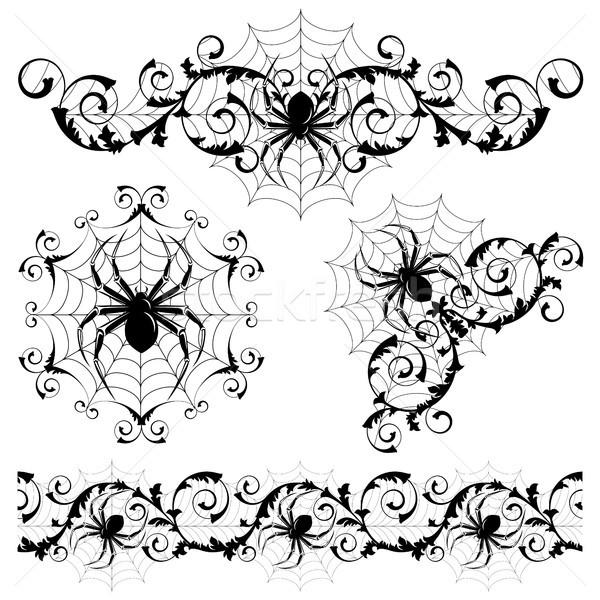 Stok fotoğraf: Ayarlamak · örümcekler · doğa · siyah · siluet · karanlık