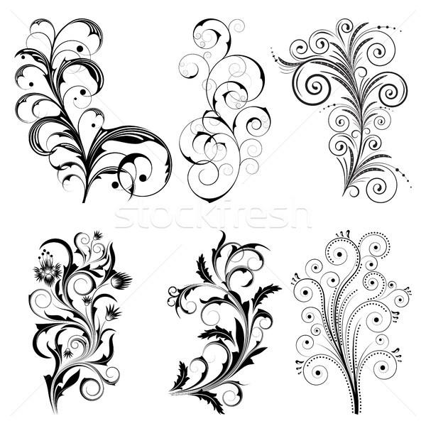 Ayarlamak siyah dizayn elemanları beyaz Stok fotoğraf © ElenaShow