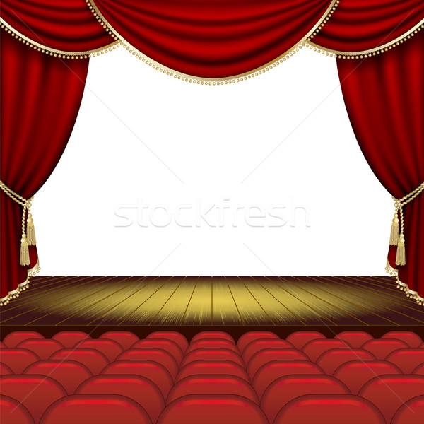 Teatro fase rosso sipario maschera Foto d'archivio © ElenaShow