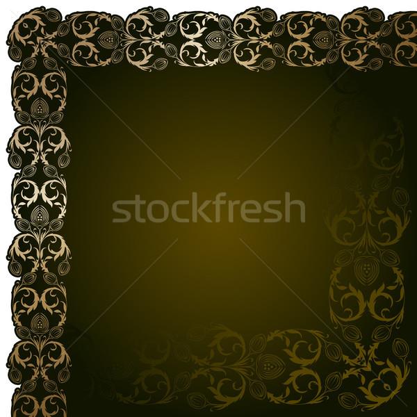 Kahverengi altın çiçekler yaprakları yaprak çerçeve Stok fotoğraf © ElenaShow