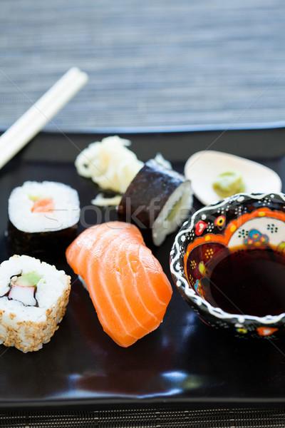 Sushi tablicy zdrowych przygotowany Zdjęcia stock © ElinaManninen