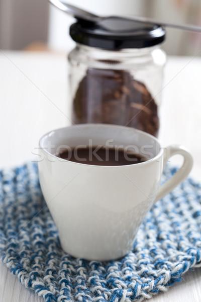 Sıcak çikolata fincan cam içmek enerji Stok fotoğraf © ElinaManninen