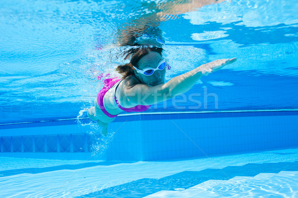Basen podwodne widoku kobiet fioletowy strój kąpielowy Zdjęcia stock © ElinaManninen
