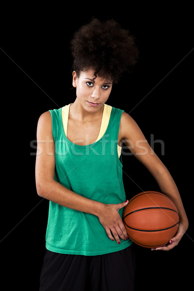 Nő kosárlabda sportos stúdiófelvétel fekete kéz Stock fotó © ElinaManninen
