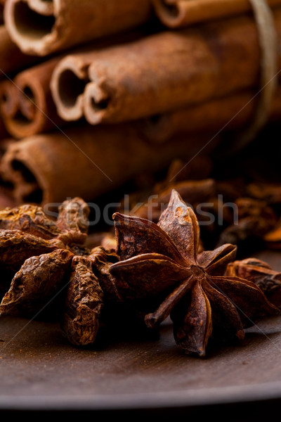 Star aniseed and cinnamon sticks Stock photo © ElinaManninen