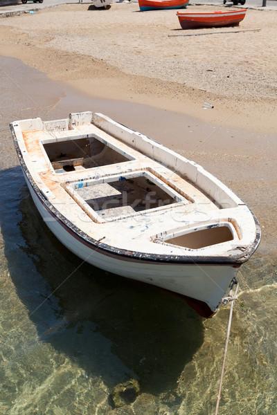 Biały wioślarstwo łodzi Grecja wody słońce Zdjęcia stock © ElinaManninen