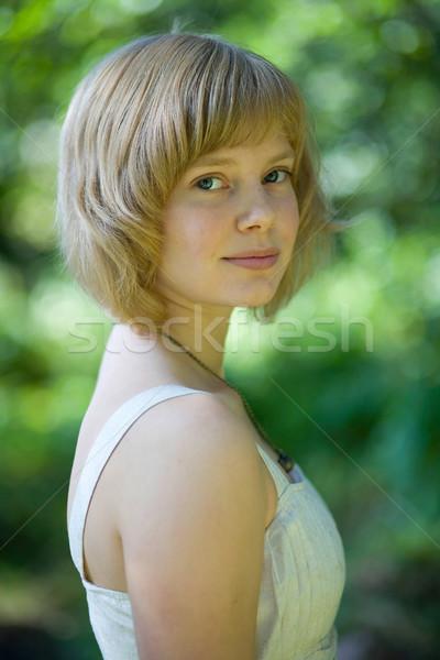 Portré gyönyörű fiatal nő kint nyár divat Stock fotó © ElinaManninen