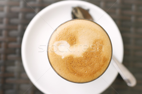 Top down view of a latte in a glass. Stock photo © ElinaManninen