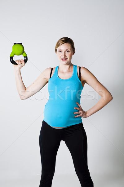 Сток-фото: беременная · женщина · гири · женщину · улыбка · матери