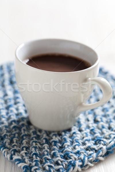 Sıcak çikolata fincan içmek enerji kahvaltı Stok fotoğraf © ElinaManninen