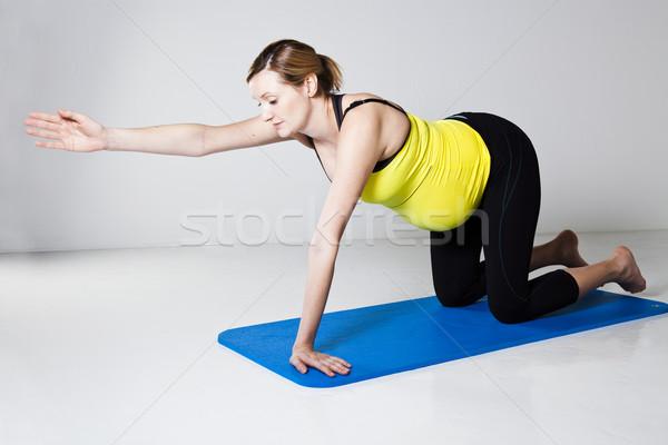 Stock fotó: Terhes · nő · testmozgás · egyensúly · izmos · erő · mag