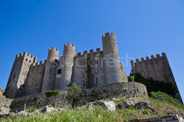 Kastély kerület Portugália fal kék biztonság Stock fotó © ElinaManninen