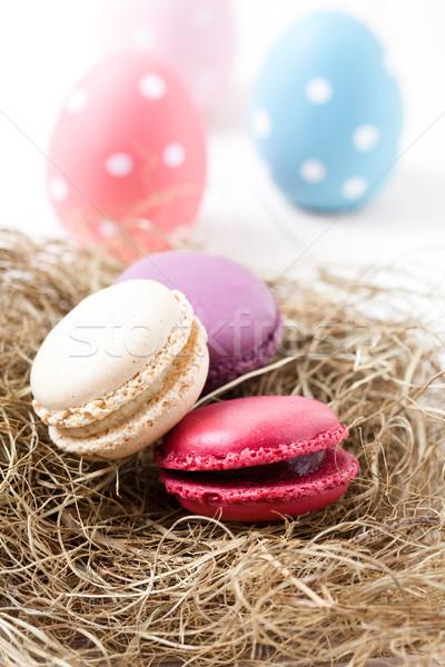 Renkli paskalya yumurtası saman yuva Stok fotoğraf © ElinaManninen