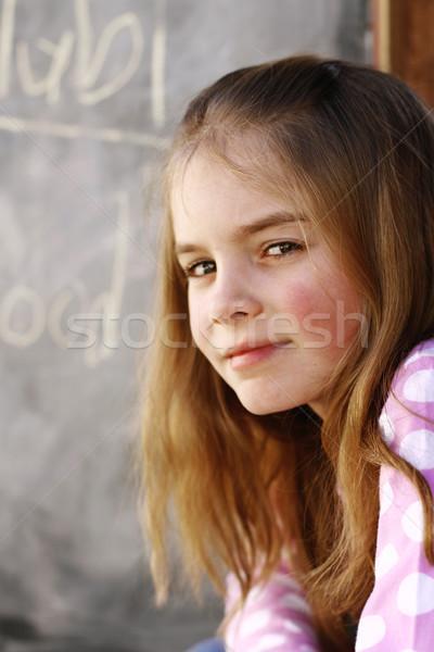 Közelkép portré csinos fiatal lány boldog hosszú hajú Stock fotó © ElinaManninen