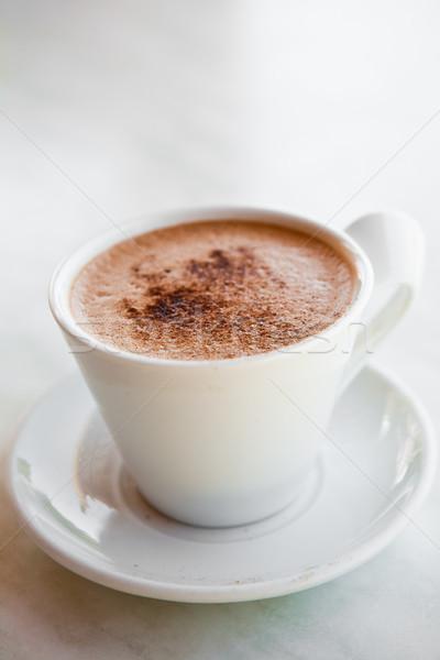 Forró csokoládé finom fehér bögre kávé csokoládé Stock fotó © ElinaManninen