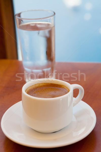 Grecki kawy szkła wody santorini Grecja Zdjęcia stock © ElinaManninen